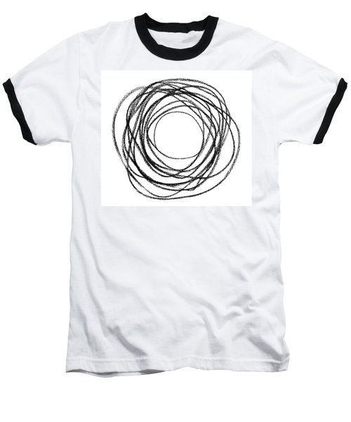 Black Doodle Circular Shape Baseball T-Shirt by GoodMood Art