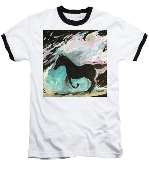 Black Horse With Wave Baseball T-Shirt