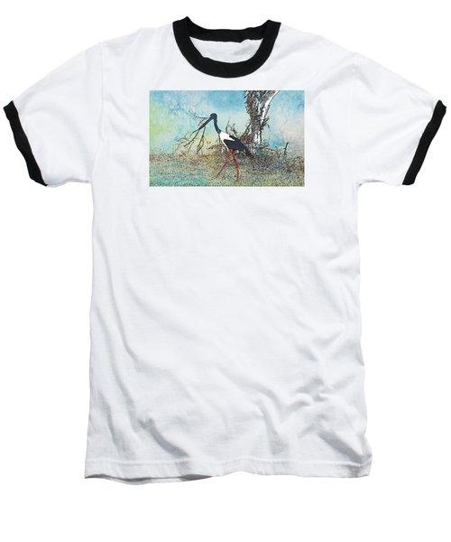 Black Neck Stork  Baseball T-Shirt by Manjot Singh Sachdeva
