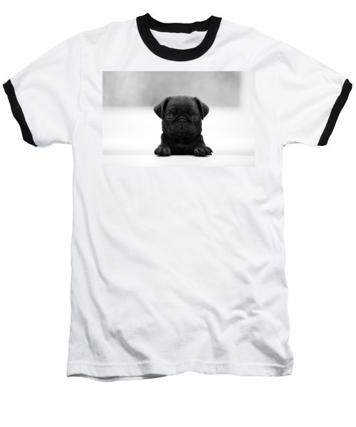 Black Pug Baseball T-Shirt by Sumit Mehndiratta
