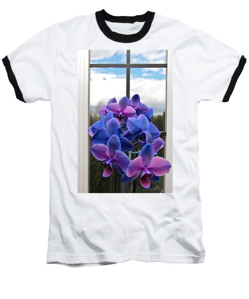 Baseball T-Shirt featuring the photograph Black Sapphire Orchids  by Aaron Berg