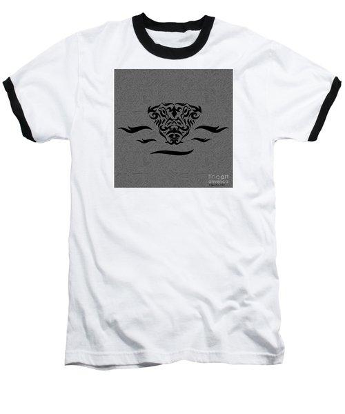 Baseball T-Shirt featuring the digital art Black Tribal Gator by Megan Dirsa-DuBois