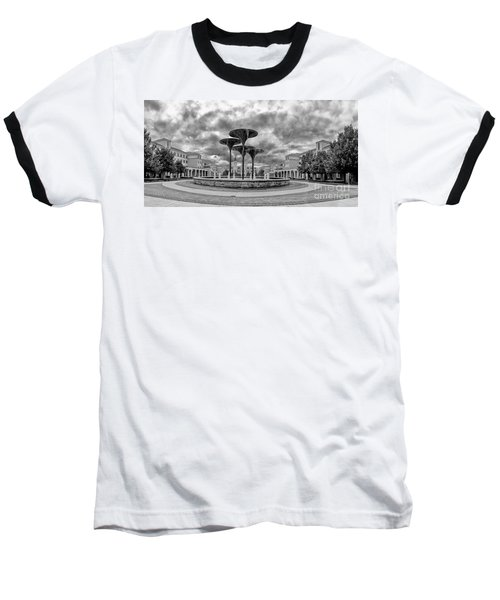 Black White Panorama Of Texas Christian University Campus Commons And Frog Fountain - Fort Worth  Baseball T-Shirt