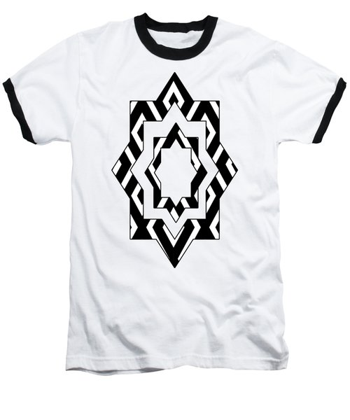 Black White Pattern Art Baseball T-Shirt