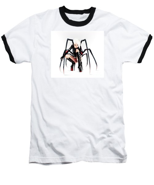 Baseball T-Shirt featuring the drawing Blackwidow by Brian Gibbs