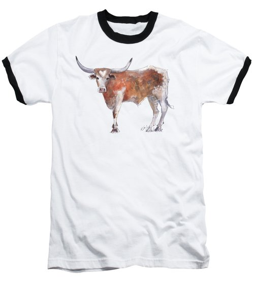 Bless Your Heart Of Texas Longhorn A Watercolor Longhorn Painting By Kathleen Mcelwaine Baseball T-Shirt