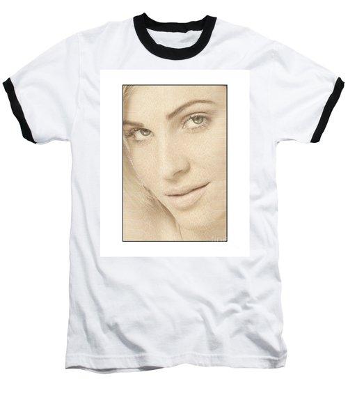 Blonde Girl's Face Baseball T-Shirt