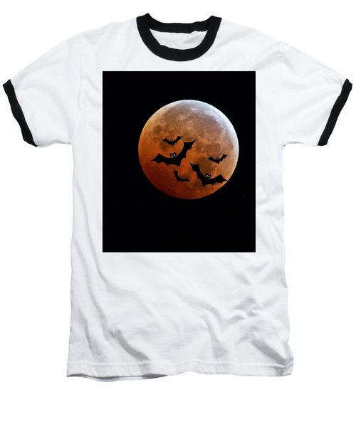 Blood Full Moon And Bats Baseball T-Shirt