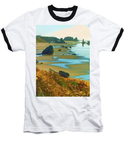 Blooming Bandon Watercolor Baseball T-Shirt by Wendy McKennon