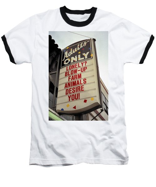 Baseball T-Shirt featuring the photograph Blowup Farm Animals Sign by Frank DiMarco