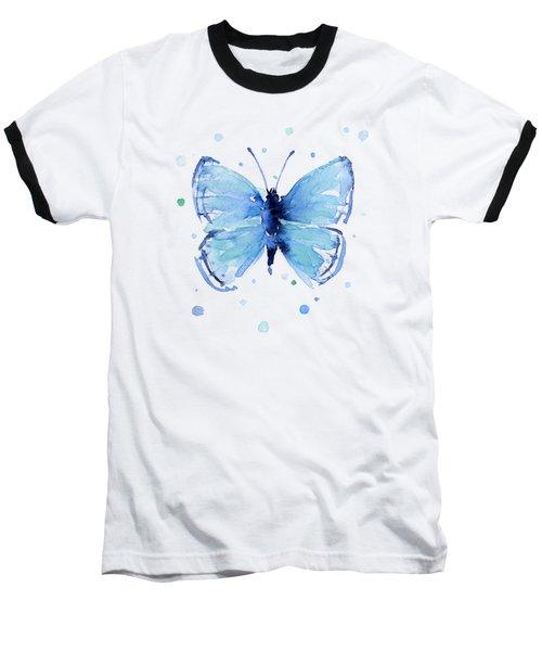 Blue Abstract Butterfly Baseball T-Shirt