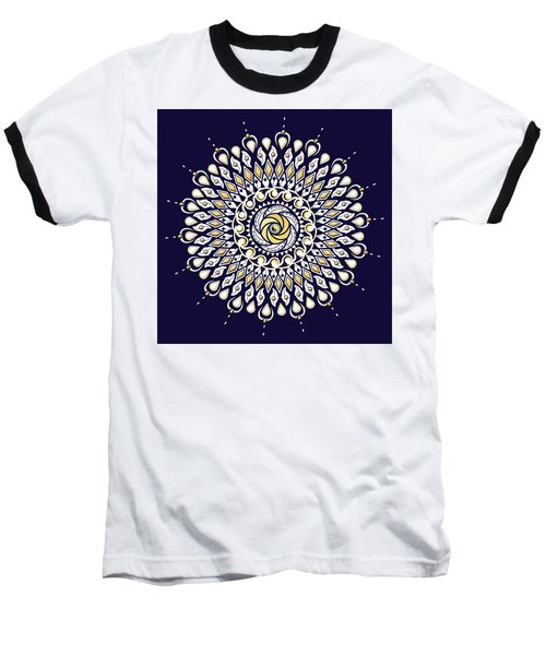 Blue And Gold Lens Mandala Baseball T-Shirt by Deborah Smith