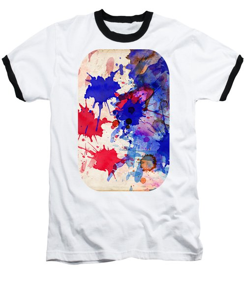 Blue And Red Color Splash Baseball T-Shirt