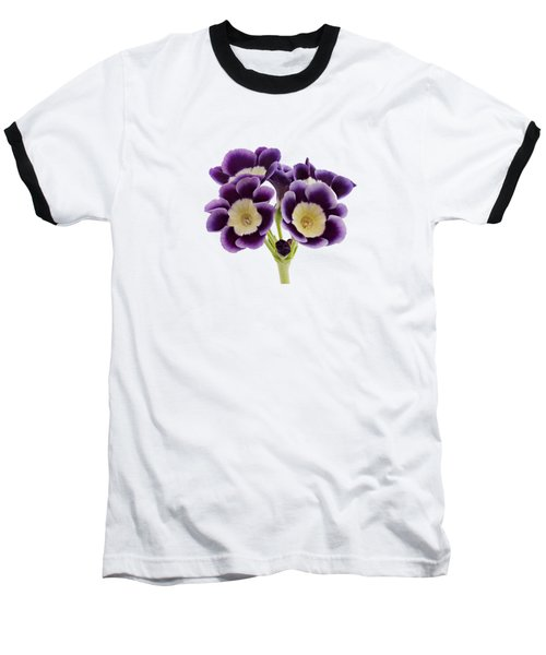 Baseball T-Shirt featuring the photograph Blue Auricula On A Transparent Background by Paul Gulliver