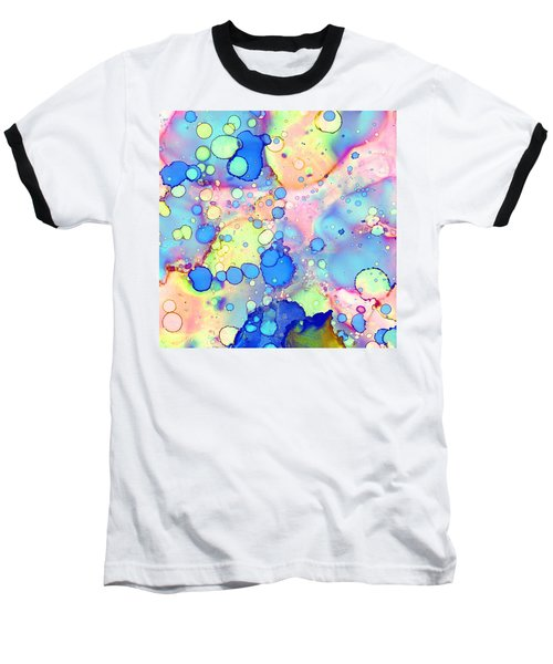 Baseball T-Shirt featuring the painting Blue Bubble Gum Pop by Patricia Lintner