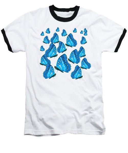 Blue Butterflies Baseball T-Shirt by Jan Matson