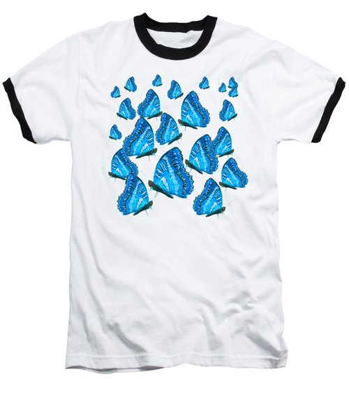 Blue Butterflies Baseball T-Shirt