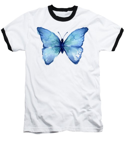 Blue Butterfly Watercolor Baseball T-Shirt