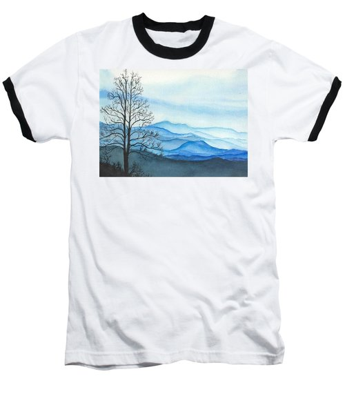 Baseball T-Shirt featuring the painting Blue Calm by Rachel Hames