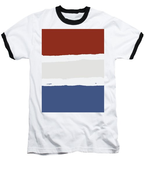 Blue Cream Red Stripes Baseball T-Shirt by P S