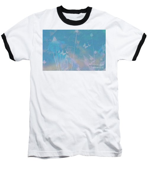 Blue Daisies And Butterflies Baseball T-Shirt by Sherri's Of Palm Springs