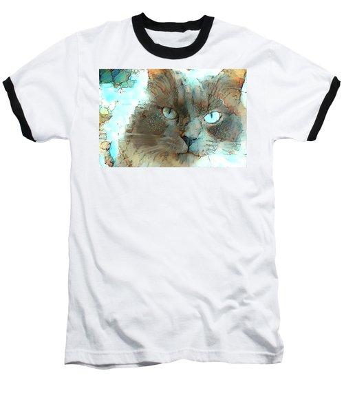 Blue Eyed Persian Cat Watercolor Baseball T-Shirt