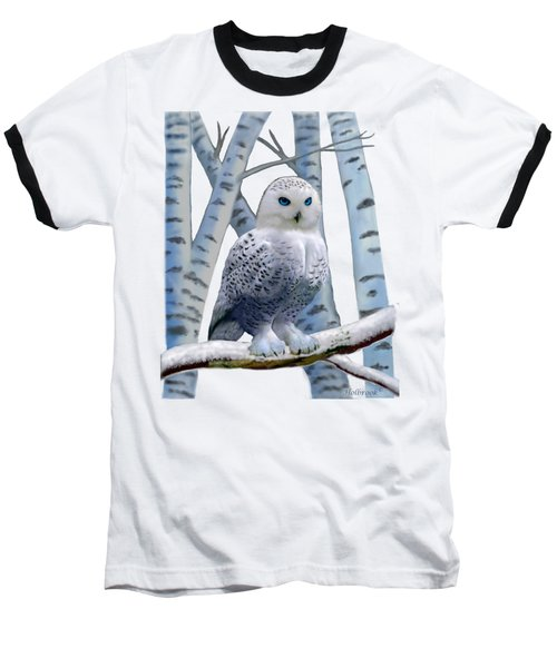 Blue-eyed Snow Owl Baseball T-Shirt by Glenn Holbrook