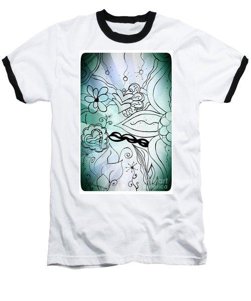 Blue Funky Flower Doodles Baseball T-Shirt