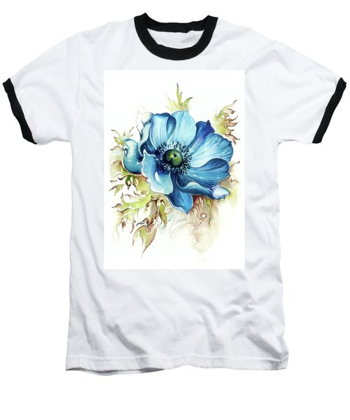Baseball T-Shirt featuring the painting Blue Gem by Anna Ewa Miarczynska
