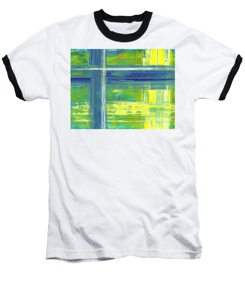 Blue Geometric Yellow Baseball T-Shirt