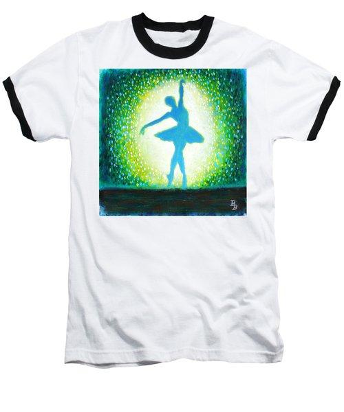 Blue-green Ballerina Baseball T-Shirt by Bob Baker