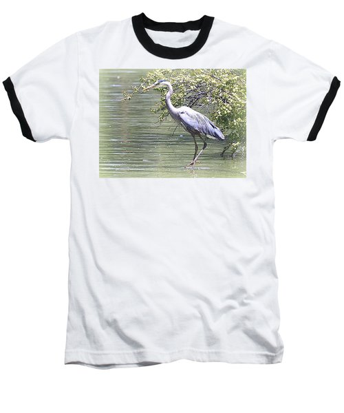 Blue Heron Baseball T-Shirt by Clarice  Lakota
