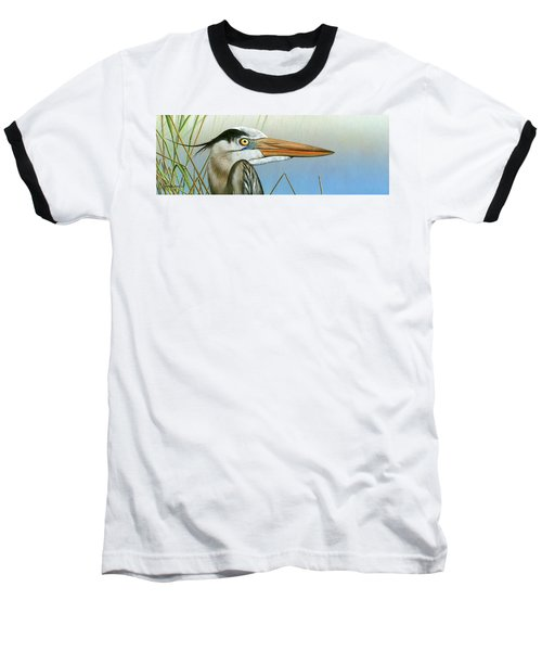 Blue Heron  Baseball T-Shirt by Mike Brown