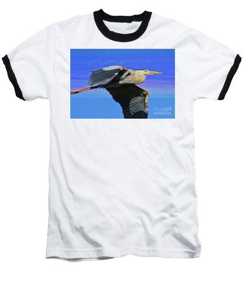 Baseball T-Shirt featuring the painting Blue Heron Series Fly by Deborah Benoit