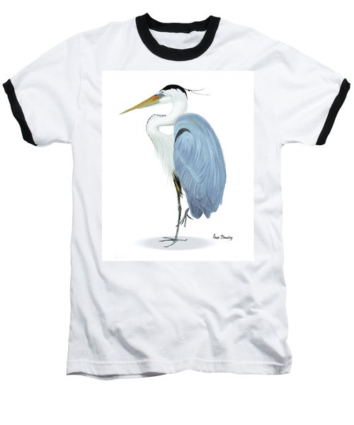 Blue Heron With No Background Baseball T-Shirt by Anne Beverley-Stamps