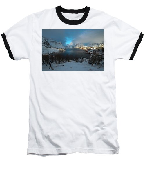 Blue Hour Over Reine Baseball T-Shirt by Dubi Roman