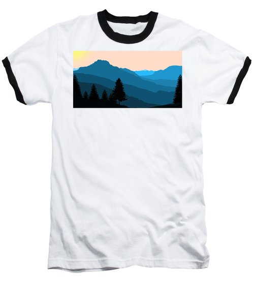 Blue Landscape Baseball T-Shirt by Thomas M Pikolin