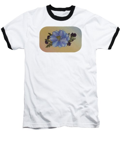 Blue Larkspur And Oregano Pressed Flower Arrangement Baseball T-Shirt