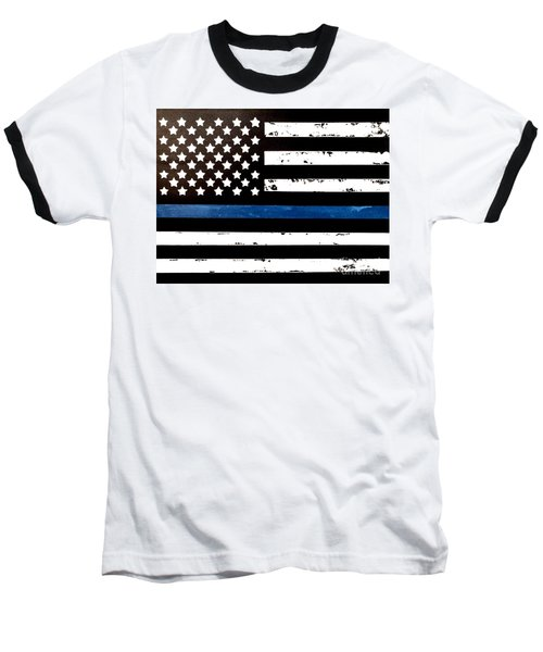 Baseball T-Shirt featuring the painting Blue Line Flag by Denise Tomasura