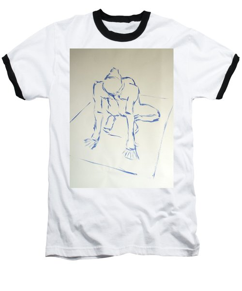 Blue Line Painting Of A Male Nude Kneeling On His Heels And Resting On Hands Which Are Behind Him Baseball T-Shirt
