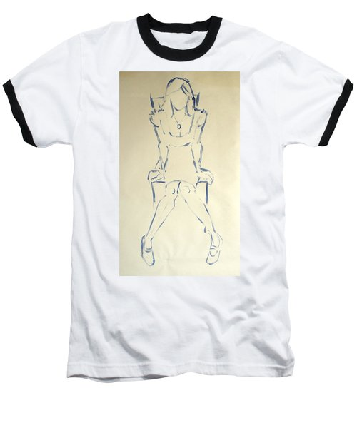 Blue Line Painting Of Woman Sat On Chair With Hands On The Sides Of Her Legs Baseball T-Shirt