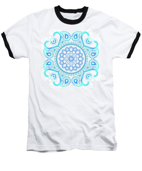 Blue Lotus Mandala Baseball T-Shirt