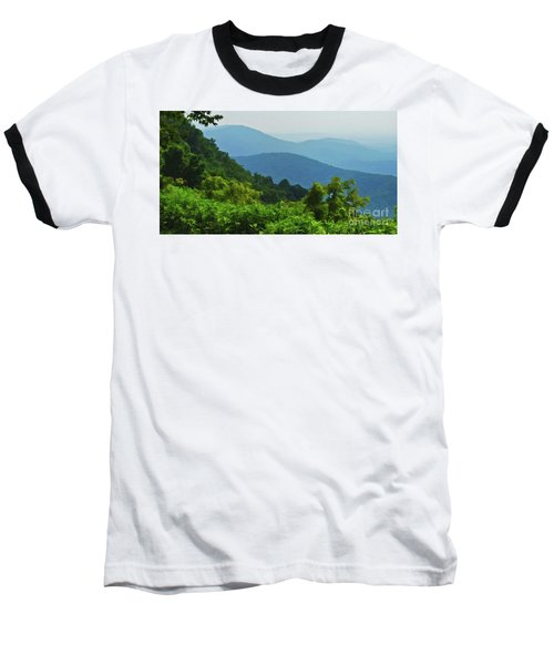 Blue Ridge Mountain Layers Baseball T-Shirt by Kerri Farley