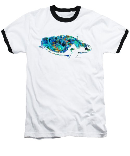 Blue Sea Turtle By Sharon Cummings  Baseball T-Shirt by Sharon Cummings