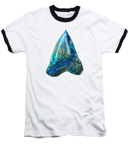 Blue Shark Tooth Art By Sharon Cummings Baseball T-Shirt by Sharon Cummings