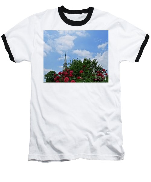 Baseball T-Shirt featuring the photograph Blue Sky And Roses by Nancy Patterson