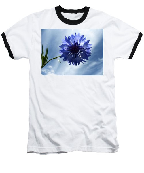 Blue Sky Blue Flower Baseball T-Shirt
