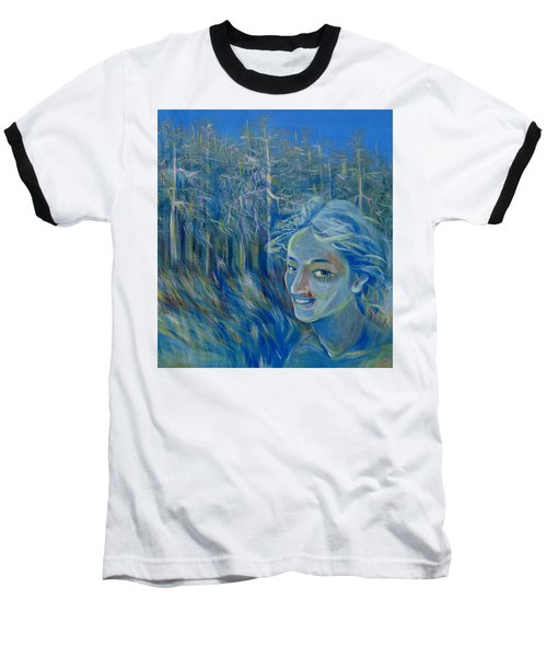 Baseball T-Shirt featuring the painting Blue Spring by Anna  Duyunova
