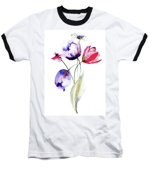 Blue Tulips Flowers With Wild Flowers Baseball T-Shirt