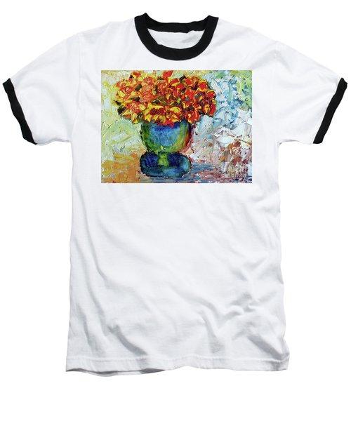 Blue Vase Baseball T-Shirt by Lynda Cookson